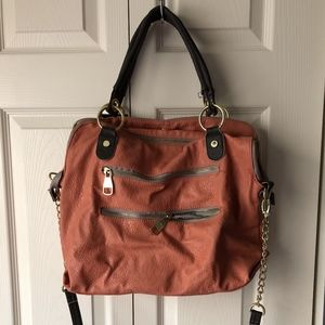 Steve Madden Leather Satchel Bag Purse Salmon